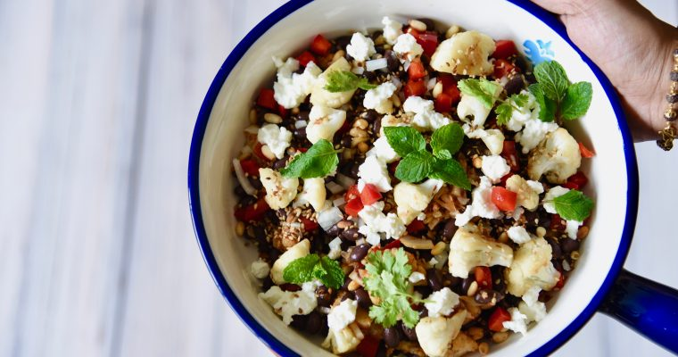 Black Beans, Cauliflower Salad with Sesame and Pine Nuts