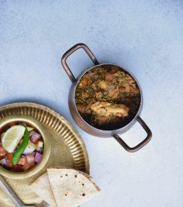 Methi Murgh or Chicken made with fresh fenugreek
