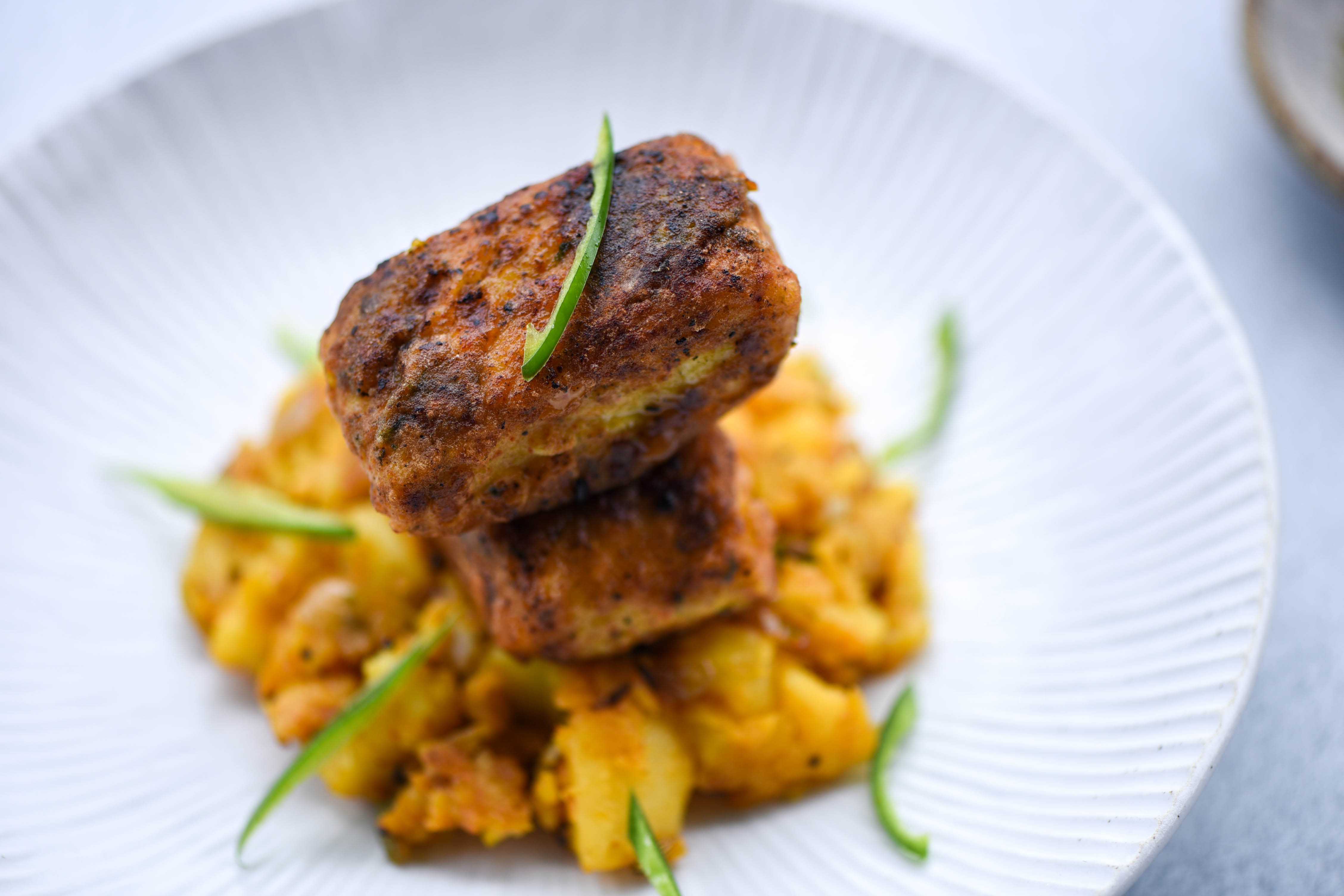 Pan Fried Fish with Bombay Potatoes
