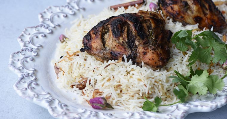 Grilled Chicken With Cardamom Rose Rice
