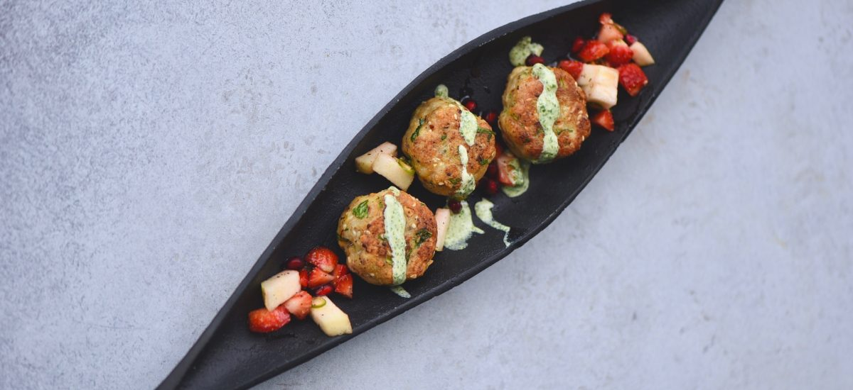 Fish Cakes with Strawberry, Apple Spicy Salad