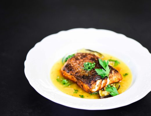 Seabass with aromatic broth