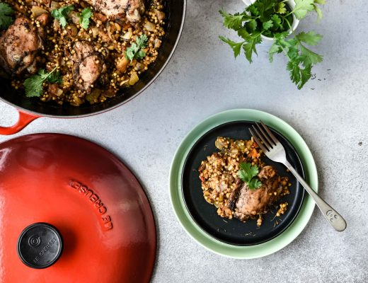 Apricot chicken with buckwheat