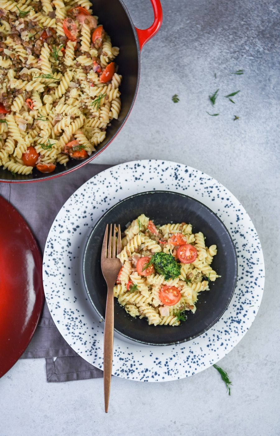 pasta made with tomatoes and tomatoes served in a plate