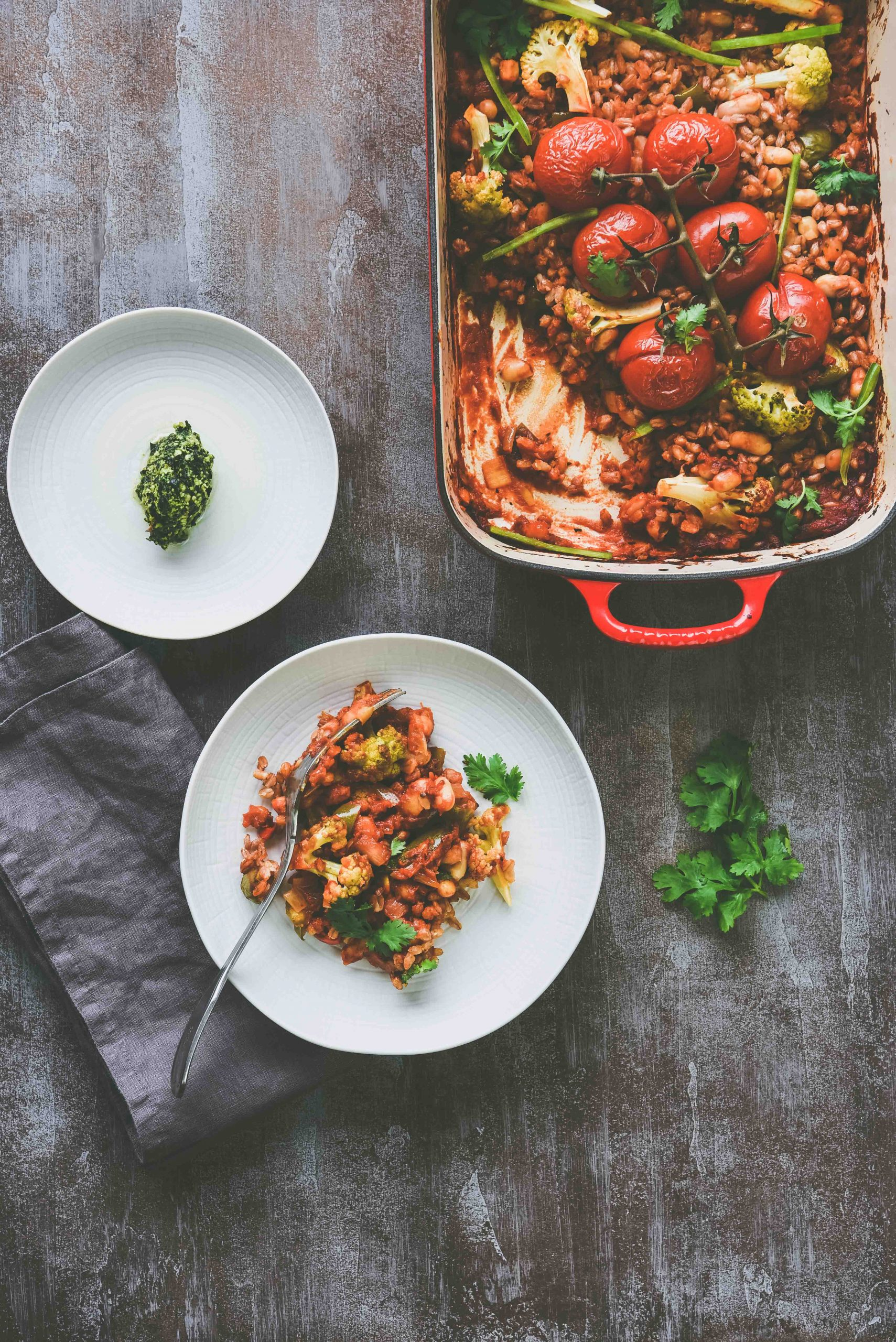 Farro and Beans Casserole- A delicious one-pot meal.